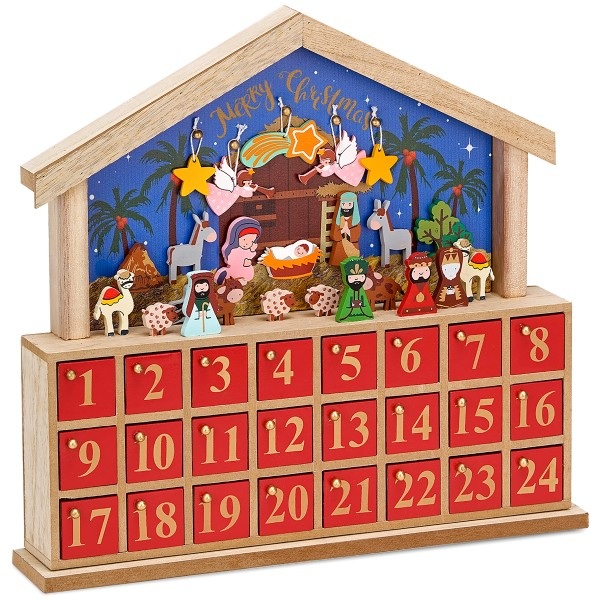 BRUBAKER Adventskalender Krippe Holz Blau Rot - Lernspiel mit 24 Figuren - 34,5 x 32 x 6 cm
