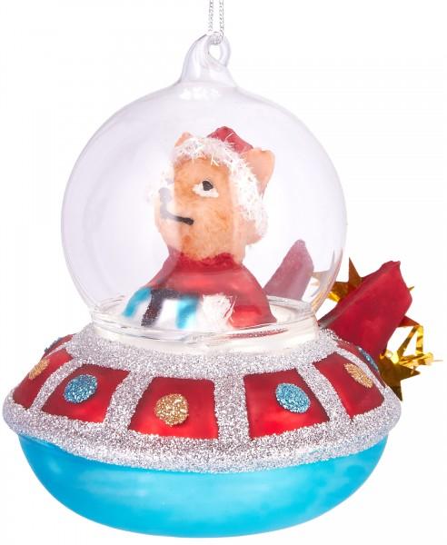 Ufo mit Gehilfe - Handbemalte Weihnachtskugel aus Glas - Mundgeblasener Christbaumschmuck - 10 cm