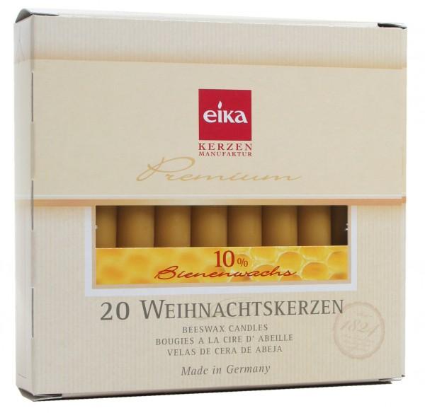 EIKA Baumkerzen 10% Bienenwachs, 20er Packung, 10cm x 1,25cm