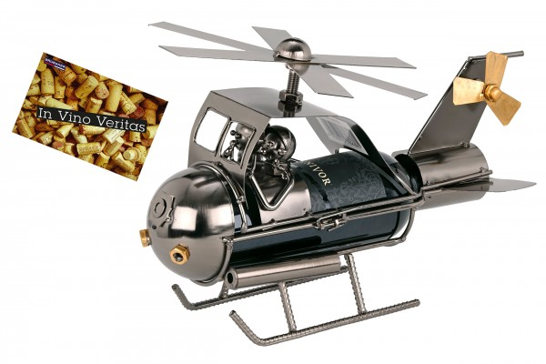 BRUBAKER Flaschenhalter Paar im Hubschrauber Metall Skulptur Geschenk mit Geschenkkarte