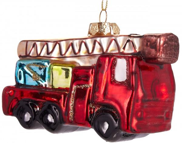 Feuerwehrauto- Handbemalte Weihnachtskugel aus Glas - Mundgeblasener Christbaumschmuck - 10 cm