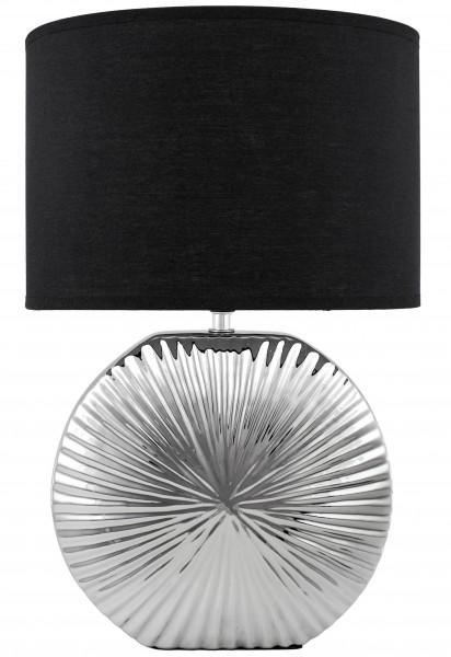 Tisch- oder Nachttischleuchte - Keramikfuß in Chrom Silber - 47 cm hoch