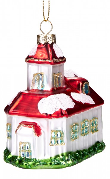 Verschneite Kirche - Handbemalte Weihnachtskugel aus Glas - Mundgeblasener Christbaumschmuck - 9 cm