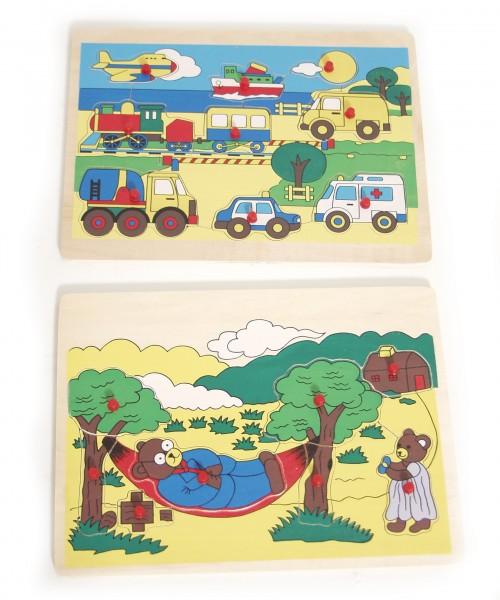 Brubaker Holzpuzzle Steckpuzzle 2er Set Verkehrsmittel und Bären auf dem Bauernhof