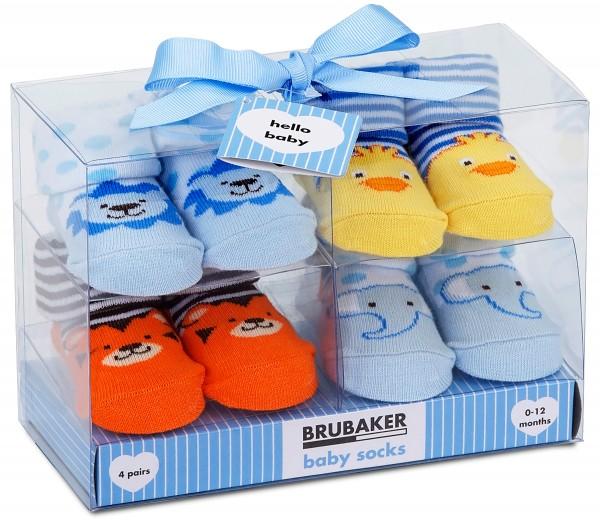 """4 Paar Babysocken """"Tiere"""" in Geschenkverpackung, 0-12 Monate"""