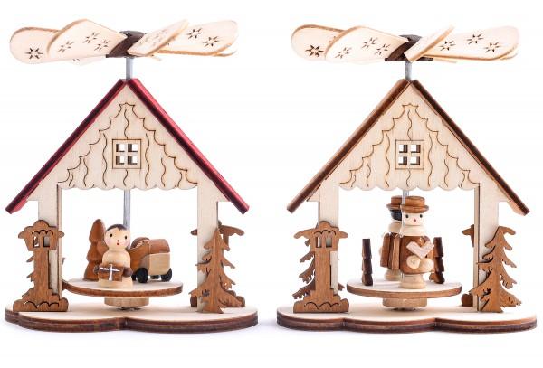 2er Set Weihnachtspyramide 1-stöckig Krippe - Engel und Sängerknaben - aus Holz - 9 x 10,5 cm