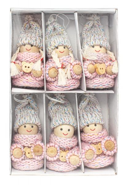 6-teiliges Set Weihnachtswichtel aus Holz und Strick Baumanhänger 7,5 cm in Geschenkbox