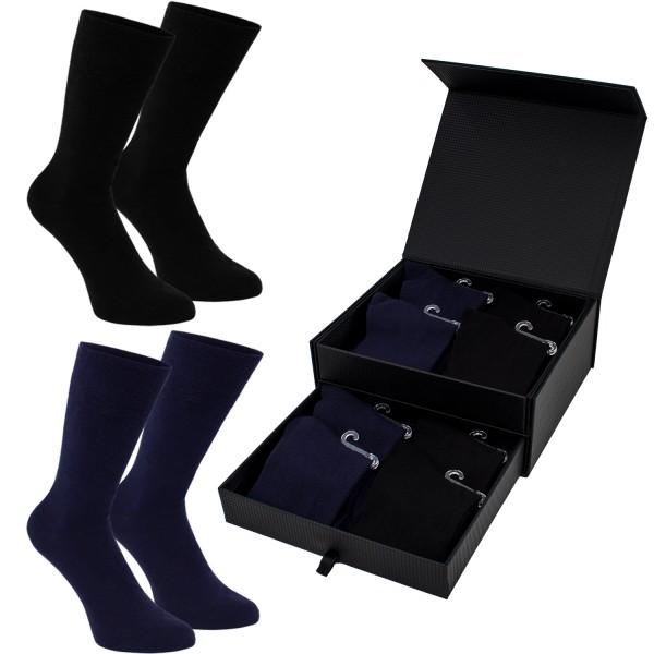 8 Paar Herren Socken in einer edlen Box - Lenzing Modal - Schwarz, Dunkelblau - Größe 41-46