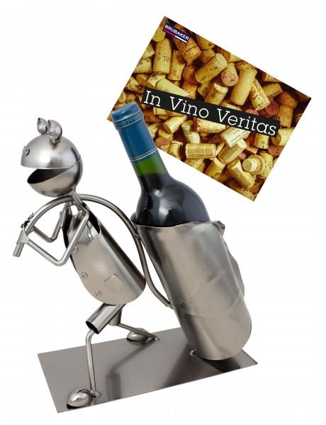 BRUBAKER Flaschenhalter Laub Frosch - Flaschenständer für Wein aus Metal mit mit Grußkarte