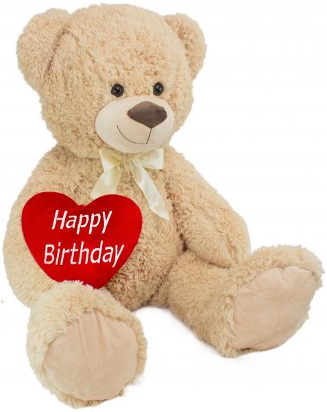 BRUBAKER XXL Teddybär 100 cm groß Beige mit einem Happy Birthday Herz Stofftier Plüschtier Kuschelti