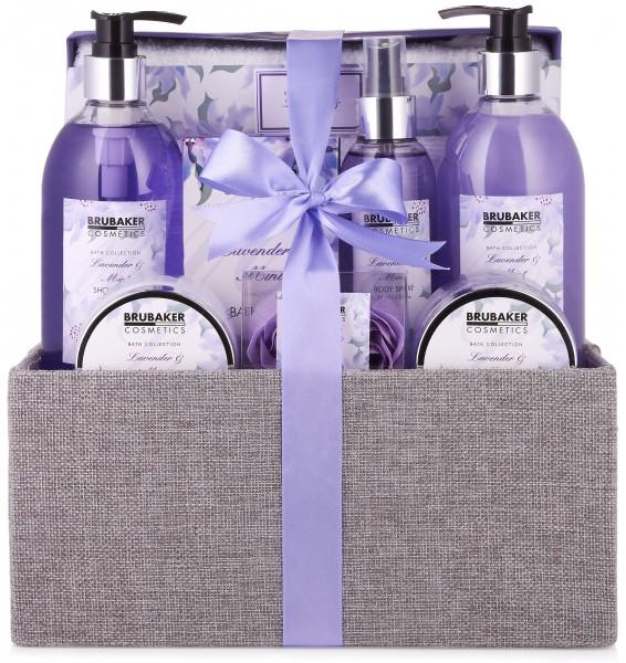 """12-teiliges Bade- und Dusch Set """"Lavender & Mint"""" - Lavendel Duft - Geschenkset in dekorativer Box"""
