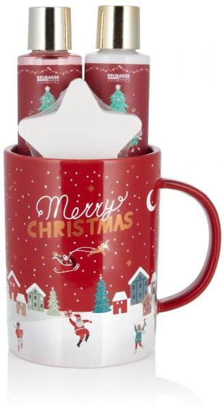 BRUBAKER Cosmetics Bade- und Dusch Set Beeren Duft - Geschenkset 4-teilig in großer Weihnachtstasse