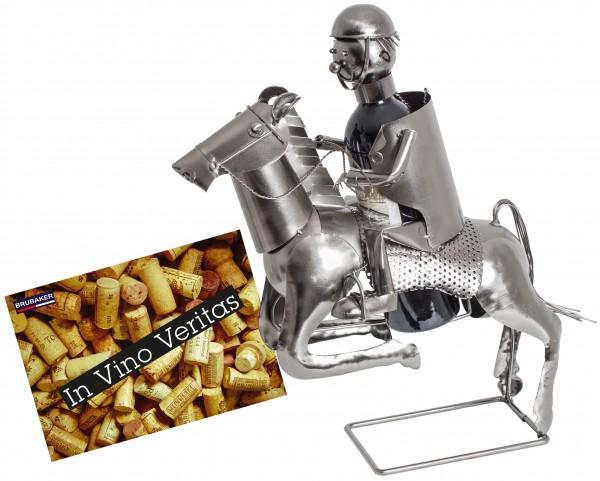 BRUBAKER Flaschenhalter Reiter Metall Skulptur Geschenk mit Geschenkkarte