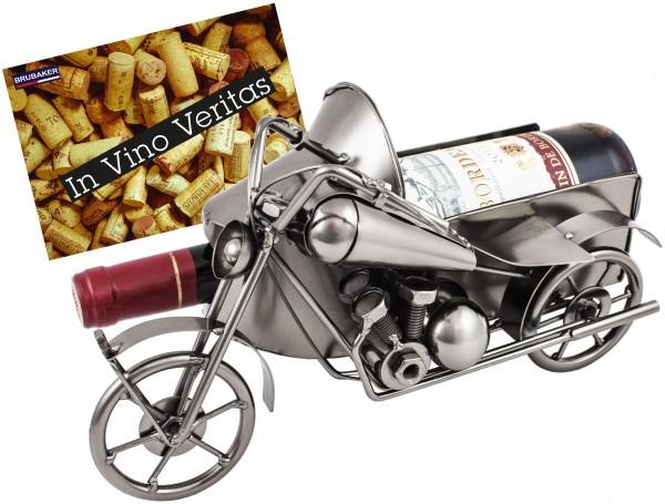 BRUBAKER Flaschenhalter Vintage Motorrad mit Beiwagen Nostalgie Deko-Objekt Metall mit Grußkarte