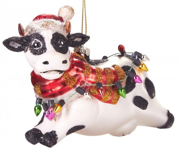 Weihnachtliche Kuh - Handbemalte Weihnachtskugel aus Glas - Mundgeblasener Christbaumschmuck - 11 cm