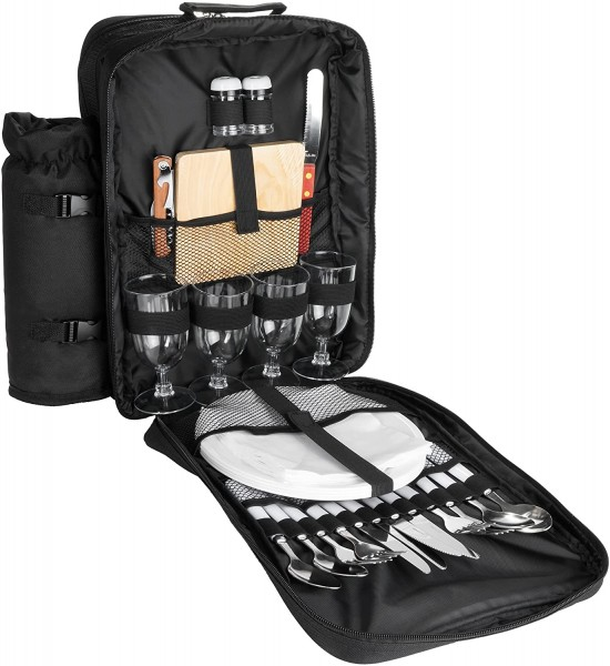 Picknickrucksack für 4 Personen Schwarz 30 × 39 x 21 cm - inkl. Kühlfach