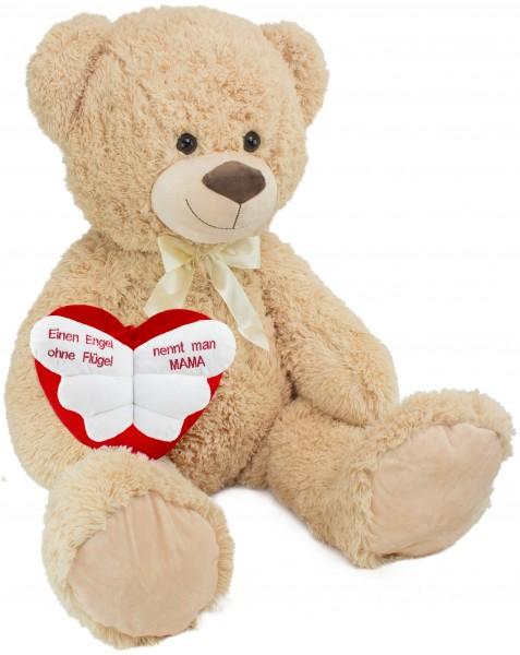 BRUBAKER XXL Teddybär 100 cm groß Beige mit 'Einen Engel ohne Flügel nennt man Mama' Herz Plüschtier