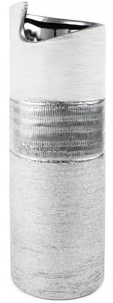 BRUBAKER Zylinder Vase 29,5 cm Höhe Porzellan silberfarbig weiß