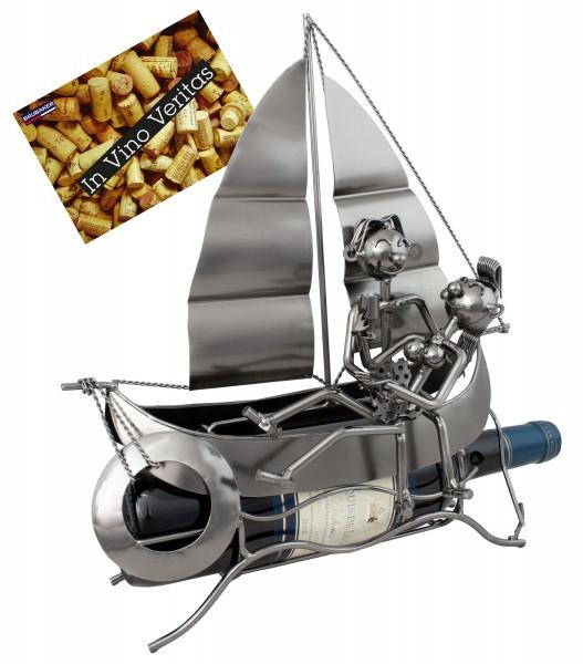 BRUBAKER Flaschenhalter Segelboot mit Liebespaar - Flaschenständer für Wein aus Metal mit Grußkarte
