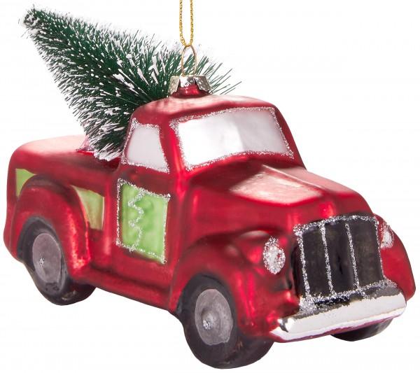 Pick-Up Truck mit Tannenbaum - Handbemalte Weihnachtskugel aus Glas - Mundgeblasene Baumkugel - 14,2