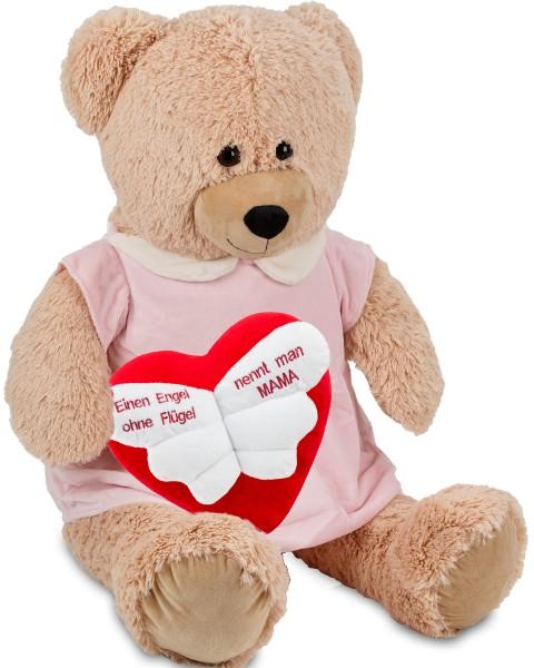 Bärenmädchen mit rosa Kleid - 100 cm - Beige - mit einem 'Einen Engel ohne Flügel ...' Plüschherz