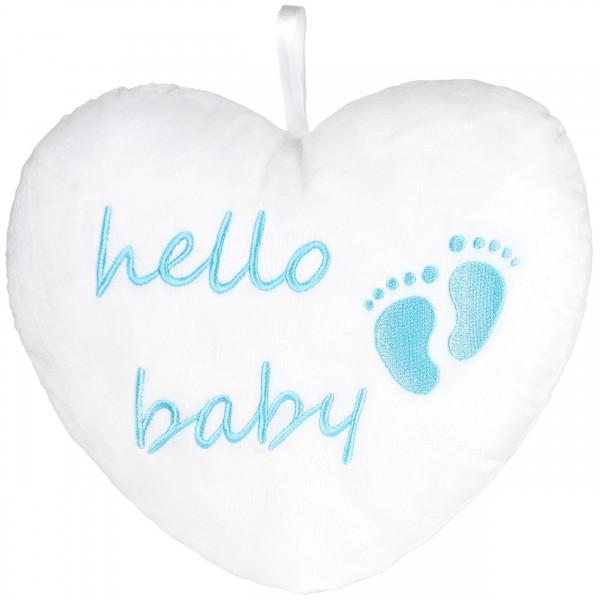 Plüschherz Hello Baby 25 cm - Babyparty Geschenk zur Geburt - Kissen für Neugeborene - Hellblau