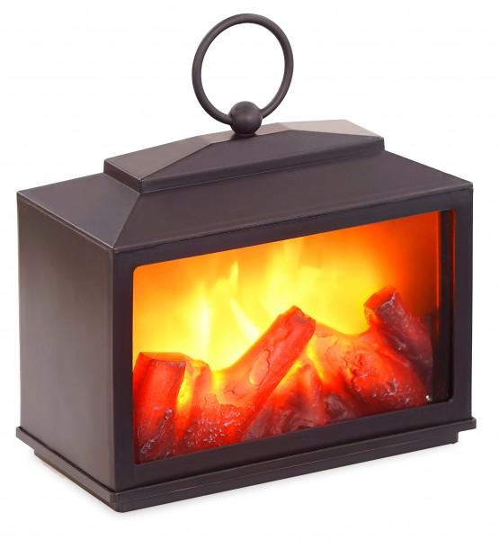 LED Kamin - mit Flammeneffekt - Wandkamin zum Hinstellen oder Aufhängen - Schwarz - 14 x 18 cm