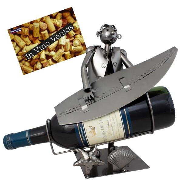 BRUBAKER Flaschenhalter Surfer mit Surfbrett - Flaschenständer für Wein aus Metal mit mit Grußkarte