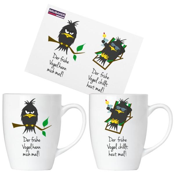 """BRUBAKER """"Der frühe Vogel"""" Tassen aus Keramik - Grußkarte und Geschenkpackung"""