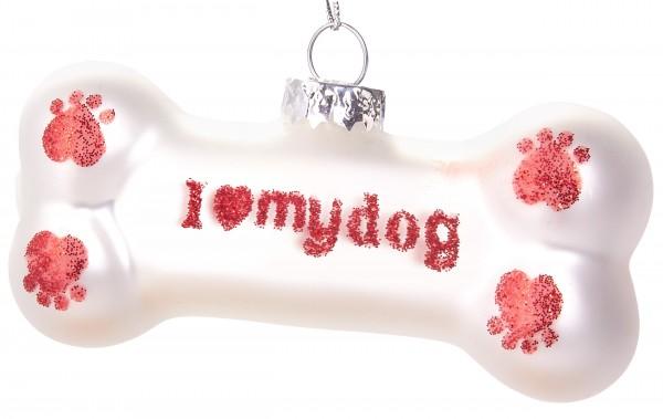 Knochen I Love My Dog - Handbemalte Weihnachtskugel aus Glas - Mundgeblasene Baumkugel - 9,5 cm