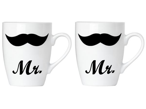 BRUBAKER Kaffee Becher Mr & Mr aus Porzellan in Geschenkpackung