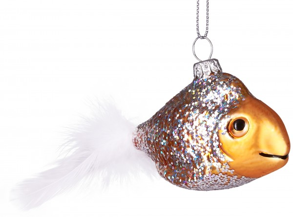 Goldfisch mit Plüsch-Flosse - Handbemalte Weihnachtskugel aus Glas - Mundgeblasene Baumkugel - 14 cm