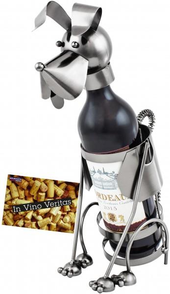 BRUBAKER Flaschenhalter Hund Flaschenständer Deko-Objekt Metall mit Grußkarte für Weingeschenk
