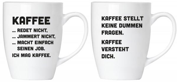 """BRUBAKER """"Kaffee jammert nicht!"""" Tassen Set aus Keramik - Grußkarte und Geschenkpackung"""