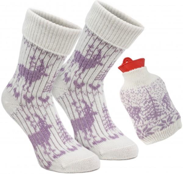 """1 Paar Damen Norweger Socken - Kuschel Geschenk Set """"Warme Füße"""" mit eingestrickter Wärmflasche"""