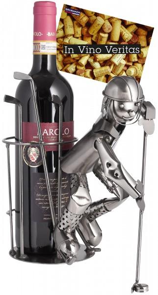 BRUBAKER Flaschenhalter Eishockeyspieler - Flaschenständer für Wein aus Metall mit Grußkarte