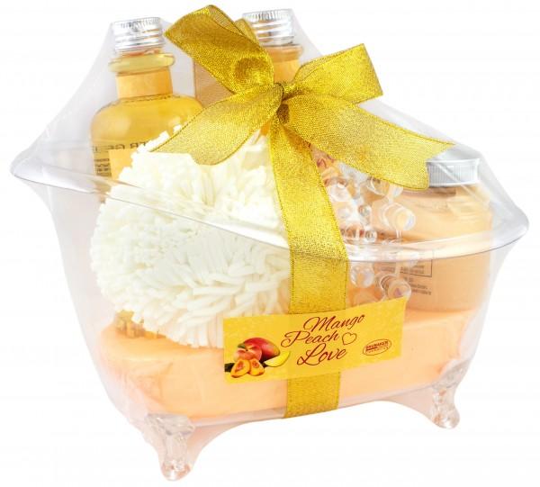 BRUBAKER Mango Peach Love Bade-Geschenkset mit Wanne aus Acryl 6-teilig