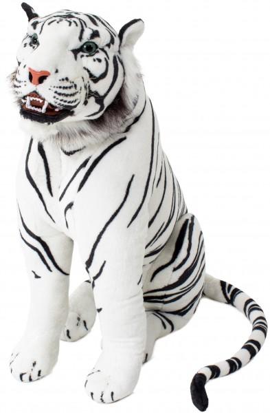 Tiger mit Zähnen - sitzend 90 cm - Stofftiger Stofftier Plüschtier