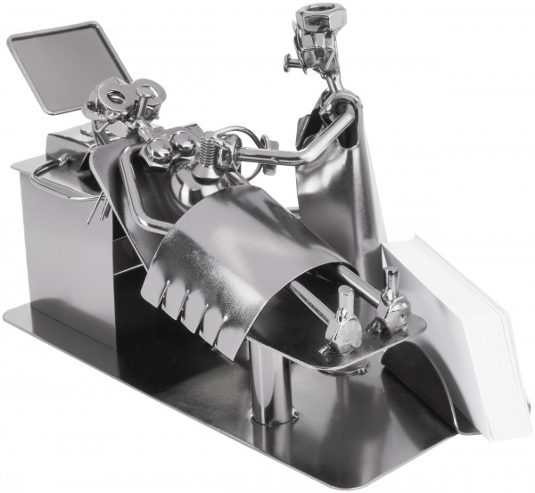 Schraubenmännchen Schwanger beim Ultraschall - Metallfigur Handarbeit mit Visitenkartenhalter