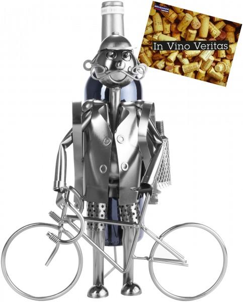 BRUBAKER Flaschenhalter Fahrradfahrer Metall Skulptur Geschenk mit Geschenkkarte