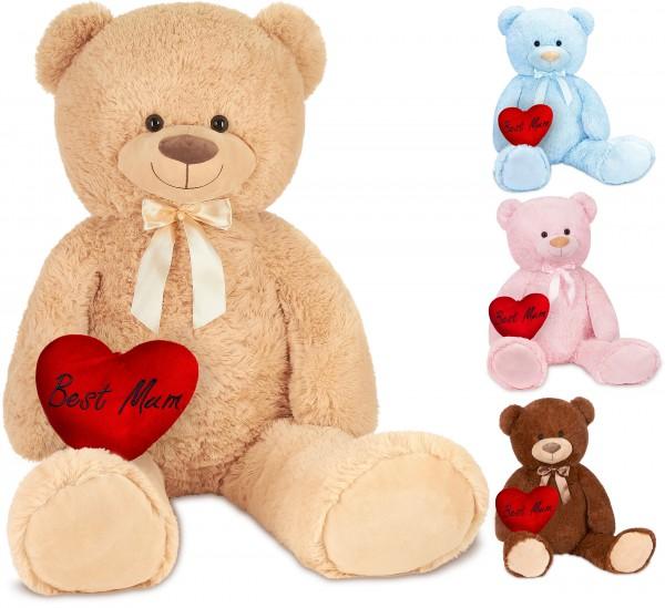 Teddybär mit Schleife 100 cm mit einem Best Mum Herz - Stofftier Plüschtier Kuscheltier