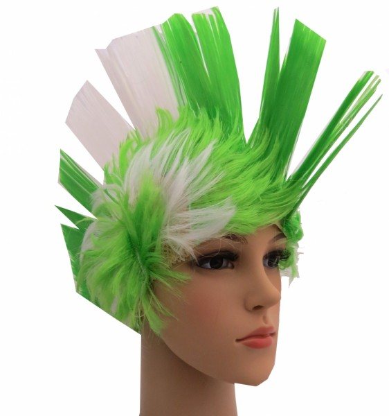 BRUBAKER Nigeria Fan Perücke Irokese Iro-Perücke in den Nationalfarben Grün Weiß