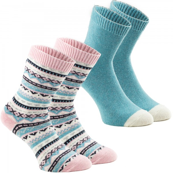 2 Paar Norweger Socken - Rosa Mint