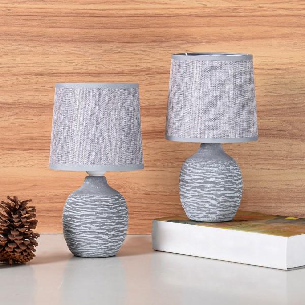 BRUBAKER Tisch- oder Nachttischlampen - 27 cm - Grau - Keramik Lampenfüße mit Struktur