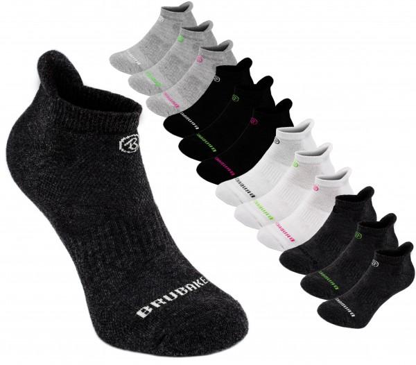 6er Pack BRUBAKER Sneaker Funktionssocken - weiche Fersenlasche für Sport, Running, Mountainbiking