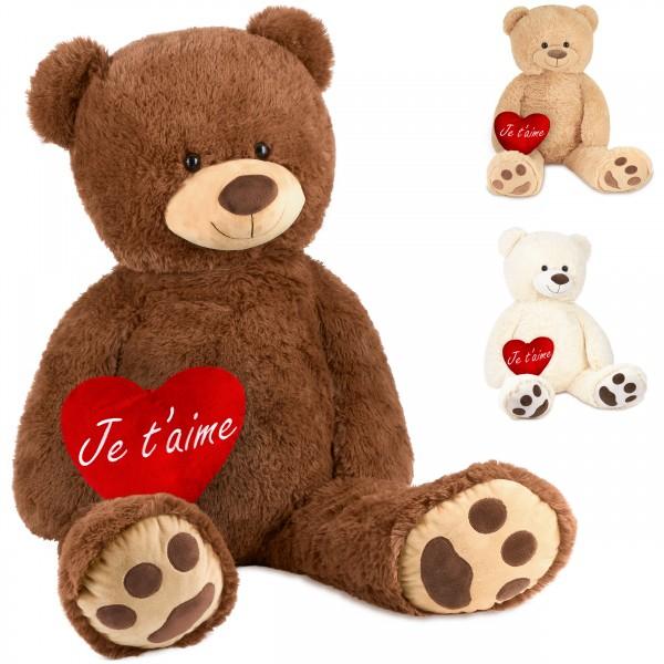 Teddybär 100 cm mit einem Je t'aime Herz - Stofftier Plüschtier Kuscheltier