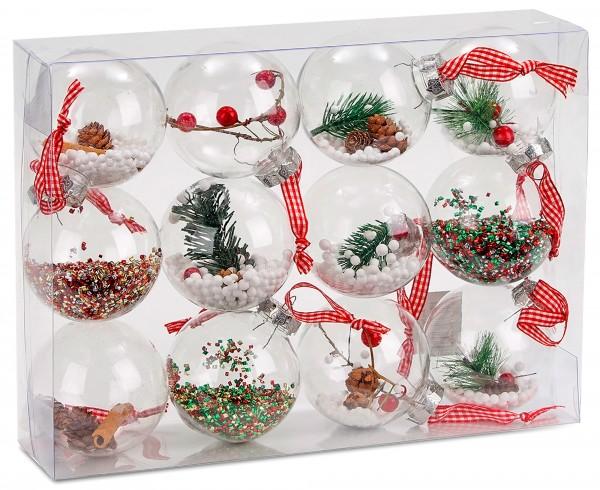 Transparente Christbaumkugeln.12 Teiliges Set Acryl Weihnachtskugeln Christbaumkugeln Transparent Befüllt ø 8 Cm