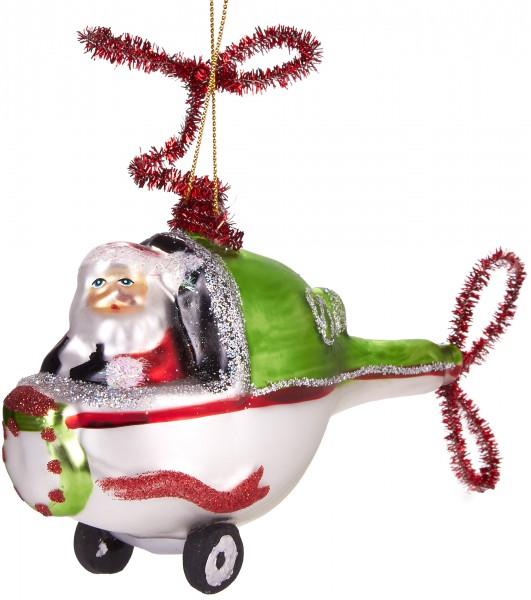 Weihnachtmann im Helikopter - Handbemalte Weihnachtskugel aus Glas - Mundgeblasene Baumkugel - 11 cm