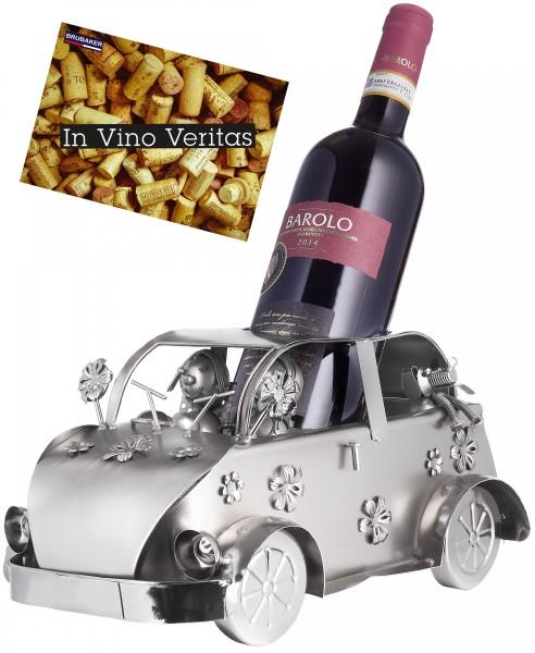 Weinflaschenhalter Vintage Auto Flower - Kult Oldtimer - Flaschenständer aus Metall - mit Grußkarte