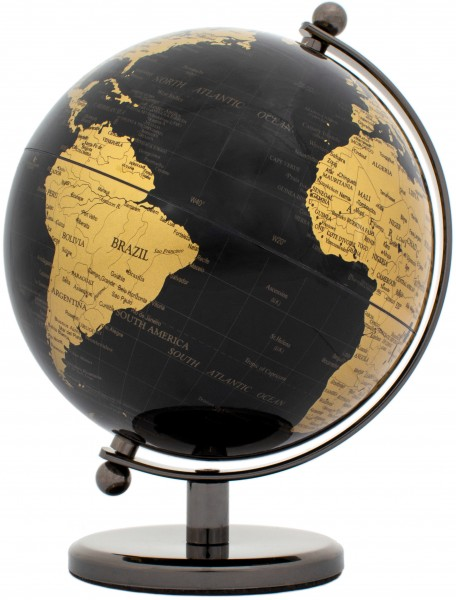 Designer Globus Dark Planet - Edelstahl - Schwarz Gold